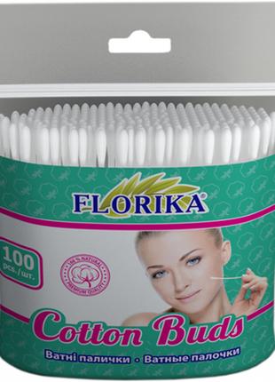 """Ватні палички """"florika"""" 100шт 75мм п\е 12*12*2см"""