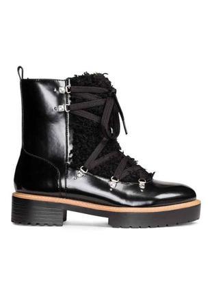 Ботинки h&m с мехом внутри (зимние/осенние) кожанные