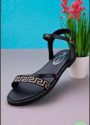 Черные босоножки сандалии на плоской подошве низкий ход