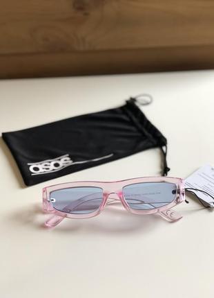 Розовые прозрачные очки c голубыми стеклами asos design