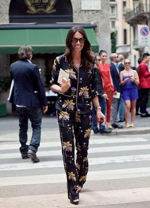 Стильный пижамный костюм, вискоза, в цветочный принт, брючный костюм, тройка
