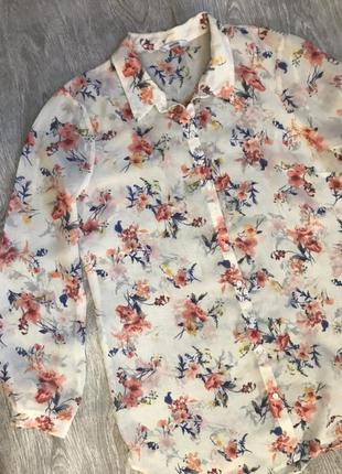 Блуза рубашка в цветы