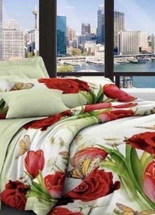 1,5-спальный комплект постельного белья, poly cotton, поли хлопок, в розы