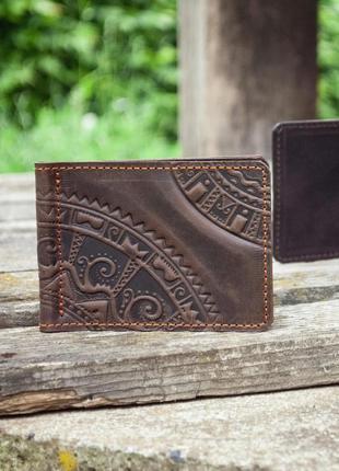 Кожаный зажим для денег коричневый мужской с тиснением мини кошелек