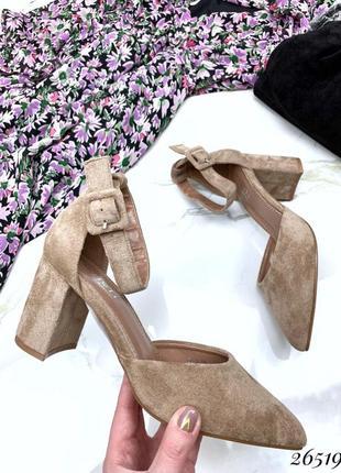 Стильные женские туфли на ремешке, туфельки, лодочки на устойчивом каблуке