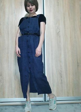 Шикарный льняной (лляний) сарафан-комбинезон-платье с карманами франция