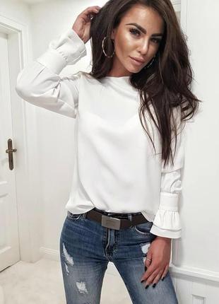 Лёгкая блузка один размер длинный рукав