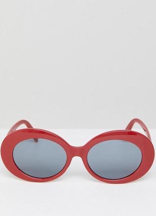 Красные овальные круглые в стиле ретро солнцезащитные очки asos design