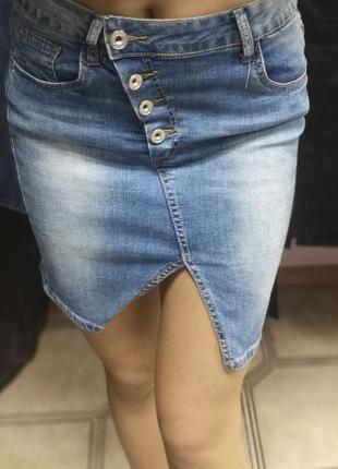 Джинсовая мини юбка длина 45 см