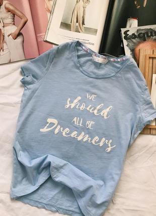 Футболка, голубая футболка, топ, майка, пижама