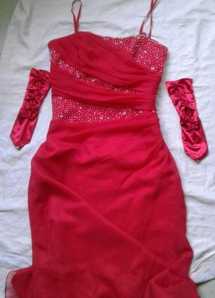 Красное вечернее платье размер 14