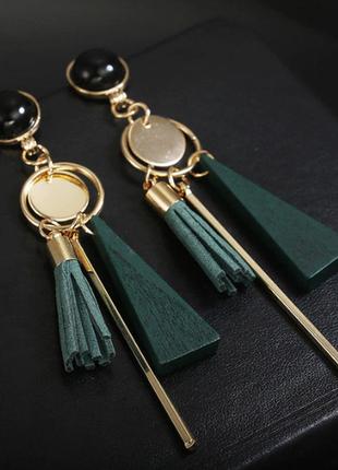Серьги сережки нарядные стильные качественные зеленые новые