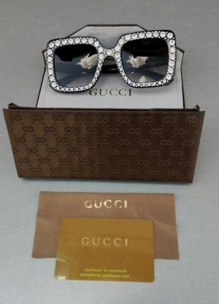 Gucci очки женские солнцезащитные в камнях большие коричневые квадратные2 фото