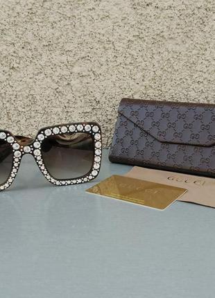 Gucci очки женские солнцезащитные в камнях большие коричневые квадратные3 фото