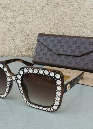 Gucci очки женские солнцезащитные в камнях большие коричневые квадратные4 фото