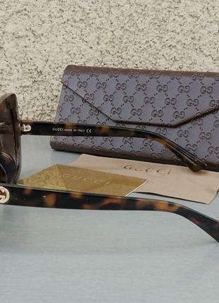 Gucci очки женские солнцезащитные в камнях большие коричневые квадратные5 фото