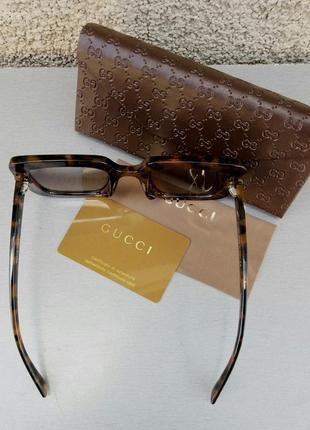 Gucci очки женские солнцезащитные в камнях большие коричневые квадратные6 фото