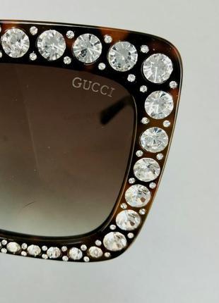 Gucci очки женские солнцезащитные в камнях большие коричневые квадратные7 фото