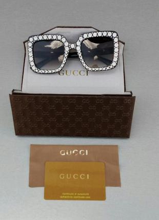 Gucci очки женские солнцезащитные в камнях большие коричневые квадратные10 фото