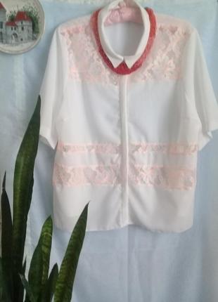 Нарядная блуза нежное пастельное кружево р. 50-52 от atmosphere