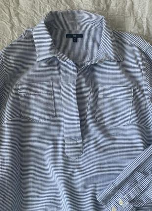 Блуза из хлопка в полоску оверсайз gap s