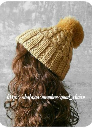 Хлопковая шапка с отворотом/с помпоном/с косами песочного цвета