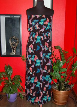 George! длинное платье, сарафан в пол с открытыми плечами с бабочками