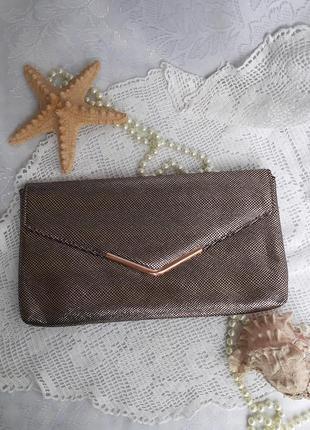 Клатч конверт текстильный лазерное напыление золотой