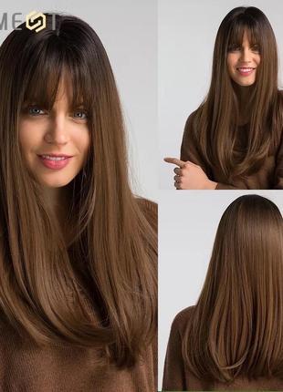 Парик, парик длинные волосы с челкой, парик омбре