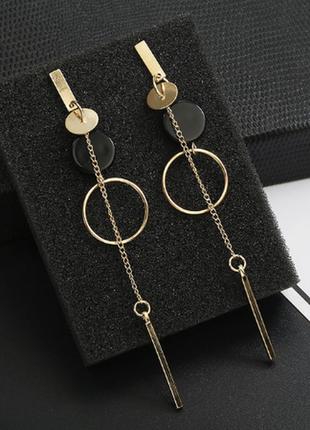Серьги сережки золотистые геометричные качественные новые