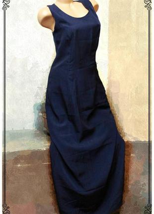 Вечернее,темно-синее платье в пол,декольте на спинке,р.m