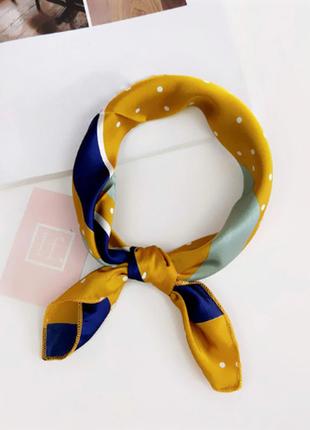 Платок платочек бант лента для волос на сумку топ-качество горчица синий принт в горох