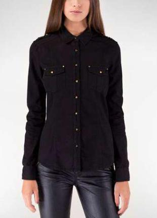 Черная рубашка хлопковая рубашка stradivarius