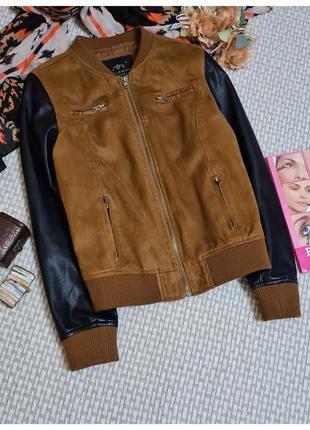 Куртка-бомпер  millennium/под замш/с кожаными рукавами