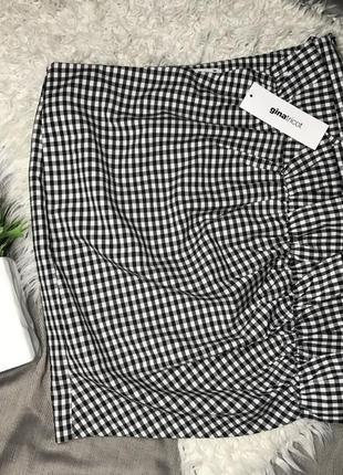 Короткая юбка клетка мини юбка с воланом виши