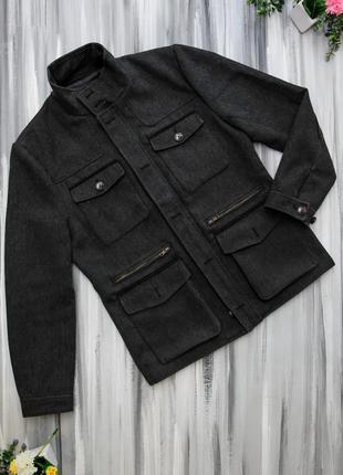 H&m темно-серое короткое пальто