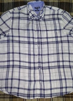 Крутая мужская льняная рубашка лён большой размер пог 71 см