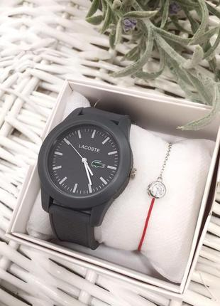 Комплект часы и браслет из красной нити