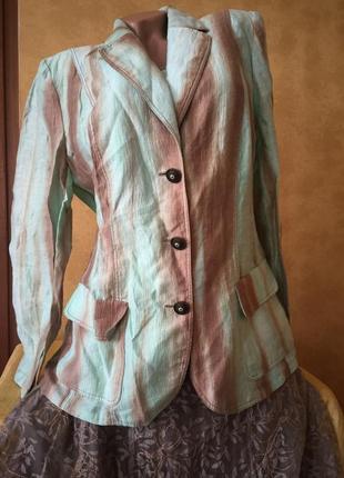 Легкий льняной пиджак жакет лён майка / топ блуза костюм