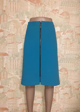 Бирюзовая юбка на молнии большой размер