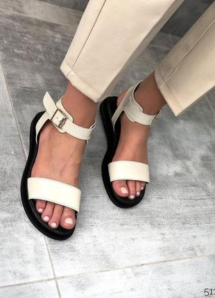 Босоножки сандалии натуральная кожа беж