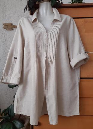 Шикарная летняя блуза-рубашка большого размера, лен+хлопок,
