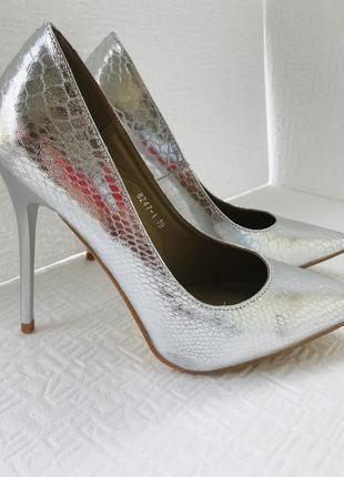 Серебряные лодочки 👠 туфли на шпильке 👠 шикарные туфли