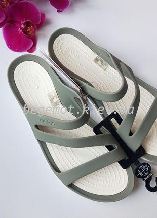 Шлепанцы крокс crocs swiftwater flip-flops олива серый
