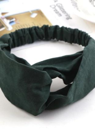 Повязка на голову чалма платок на волосы обруч узел ободок тюрбан зеленая