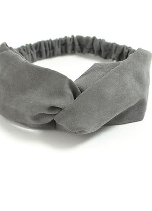 Повязка на голову чалма платок на волосы обруч узел ободок тюрбан серая