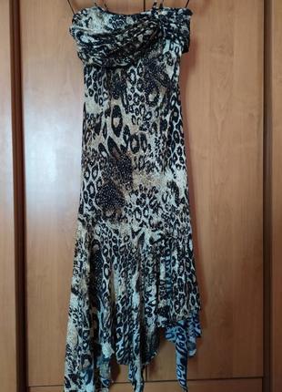 Шикарное нарядное стильное летнее платье леопардовое платье блестки