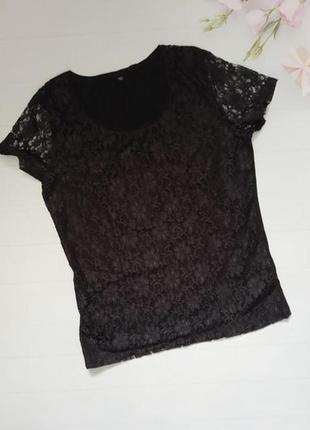 Красивая нарядная кружевная хлопковая блуза футболка натуральная