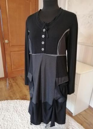 Комбинированное стильное платье размер 48-52.