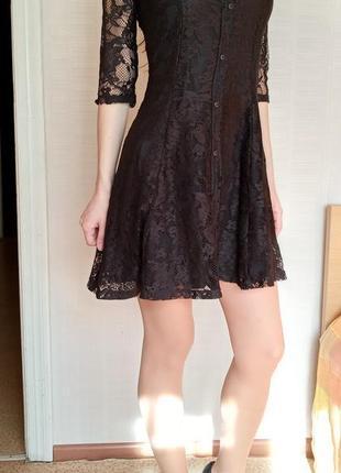Sale черное кружевное платье bershka xs